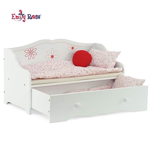 Emily Rose 18 Inch Doll Bed   18' Daybed and Trundle Bed   Fits American Girl Dolls   18' Inch Doll Furniture   American Girl Doll Bed with 2 Sets of Bedding and Decorative Pillow