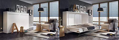 Mirjan24  Schrankbett Concept Pro II Horizontal, Wandklappbett inkl. Lattenrost, Bettschrank, Wandbett, Schrank mit integriertem Klappbett, Funktionsbett, Farbauswahl, (140×200 cm, Weiß) - 3