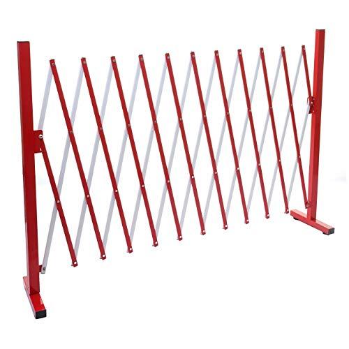 Mendler Absperrgitter HWC-B34, Scherengitter Zaun Schutzgitter ausziehbar, Alu rot-weiß - Höhe 103cm, Breite 37-300cm