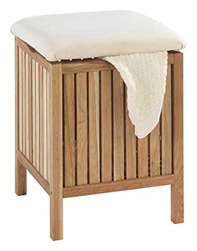 WENKO Taburete de baño Norway - taburete baño, Madera de nogal, 39 x 52 x 39 cm, Nogal