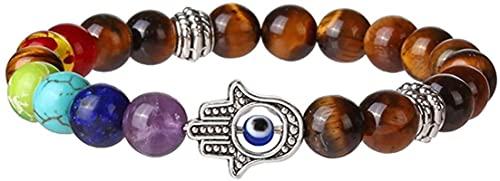 HYJMJJ Pulsera Feng Shui Bead 7 Chakra Lava Stone Mala Beads Pulsera con MEDITACIÓN DE FATIMAS MEDITACIÓN Mano Reiki Pulsera de energía Pulsera de Abalorios de Amuleto (Color : Tiger Eye)