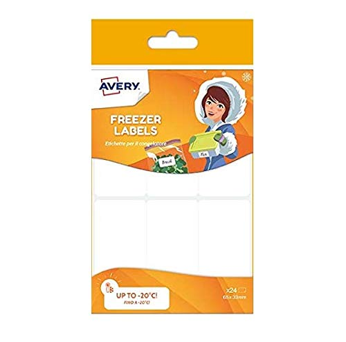Avery Etiquetas de congeladores, 65 x 33 mm, 24 etiquetas por paquete, blanco