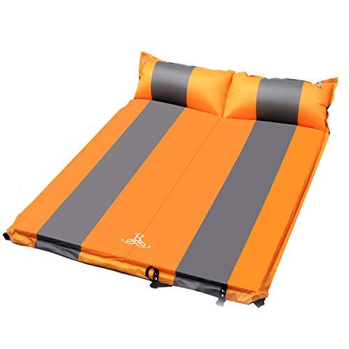 ROULING Isomatte für 2 Personen Camping Schlafmatte Aufblasbar Wasserdicht Faltbar mit Kissen Luftmatratze klappbar - Liegematte für Outdoor, Wandern, Backpacking 192 x 132 x 5 cm (Orange)
