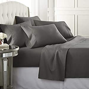 Danjor Linens 6 Piece Hotel Luxury Soft 1800 Series Premium Bed Sheets Set, Deep Pockets, Hypoallergenic, Wrinkle & Fade Resistant Bedding Set(Queen, Gray)