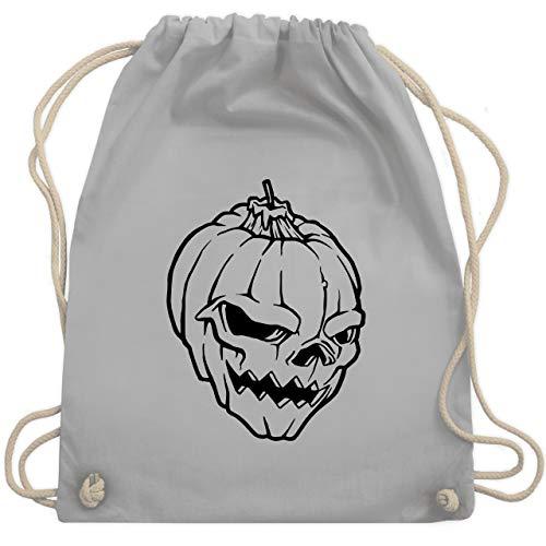 Shirtracer Halloween - Kürbis Totenkopf - Unisize - Hellgrau - helloween kostüme herren - WM110 - Turnbeutel und Stoffbeutel aus Baumwolle