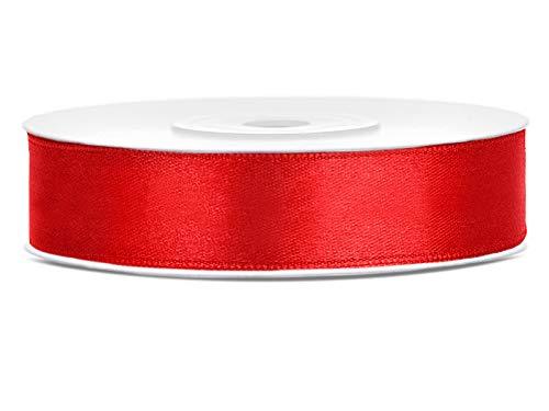 DaLoKu Satinband 6/12/25/38/50/100mm x 25m Geschenkband Schleifenband, Größe: 12mm x 25m, Farbe: Rot