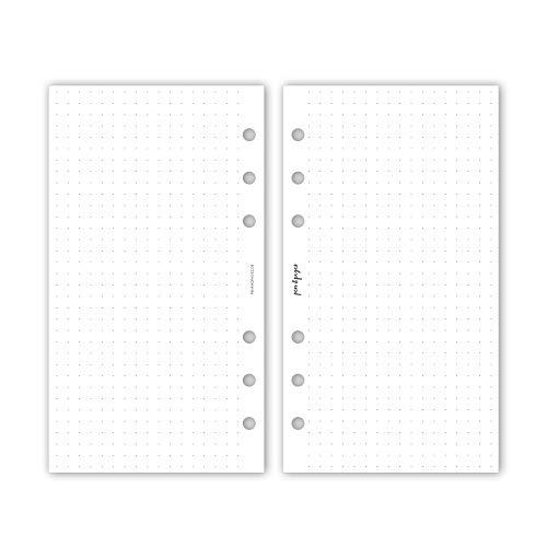 pen & pages® gepunktetes Papier Dot Grid - Personal - 6 Löcher - Nachfüllpapier Organizer, Notizpapier, dotted, punktkariert, Lettering, Bullet Journal, 9,5 x 17,1 cm