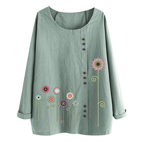 Eaktool Womens Long Sleeve Button Cotton Linen Kaftan Ladies Baggy Blouse Tee Shirt Tops M-5XL(Green,X-Large)