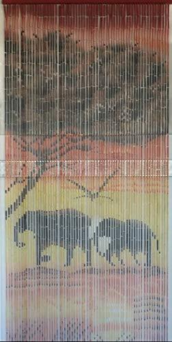 Sambrina Bambusvorhang Motiv Elefanten im Sonnenuntergang Raumteiler Türvorhang Insektenschutz Bambus handbemalt Unikat