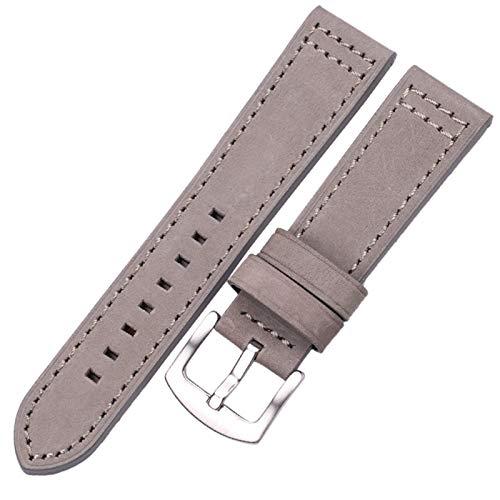 Cintas De Relojes De Cuero 18 20 22 24mm Mujeres Relojamiento Rápido para Samsung Gear S3 Cuero Vintage Watch Band Correa #08 (Band Color : Gray Silver Buckle, Band Width : 22mm)