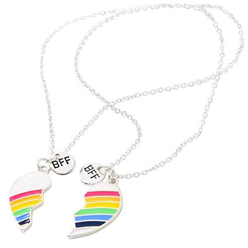 Claire's Matching Rainbow Heart Pendant Best Friends Necklaces, Silver Tone...