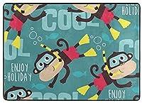 フロアマット 大判,面白い猿 新年の部屋の装飾 フローリング/畳/床暖房対応(213×152cm 厚1.5mm)