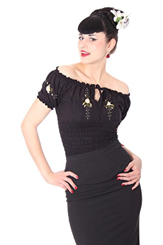 SugarShock Damen Shirt Noellin Carmen Bluse, Größe:S/M (36-38), Farbe:schwarz cremé