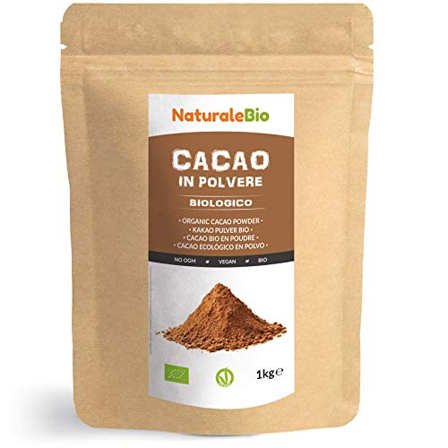 Kakao Pulver Bio 1 Kg. Organic Cacao Powder. 100% Natürlich, Rein aus de Roh Kakaobohnen. Produziert in Peru aus der Theobroma Cocoa Pflanze. Magnesium, Phosphor und Zink-Quelle. NaturaleBio
