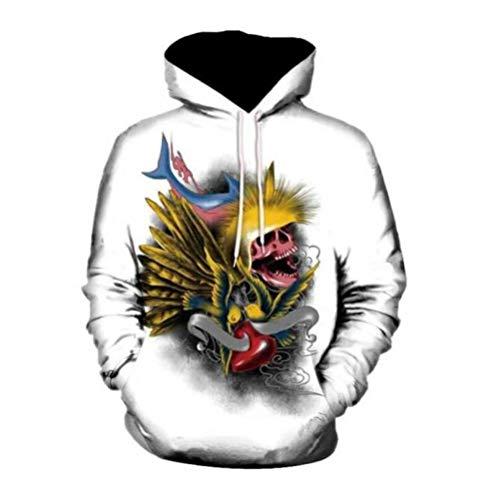 Cráneo de Monstruo de Pescado Unisexo Sudaderas con Capucha 3D Impresa Manga Larga Colorida Novedad Hoodie Suéter Deporte Capucha-3XL