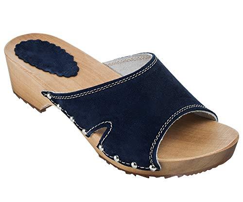 ESTRO Zuecos De Madera para Mujer Calzado Sanitario De Trabajo CDL04 (Azul Oscuro, 37)