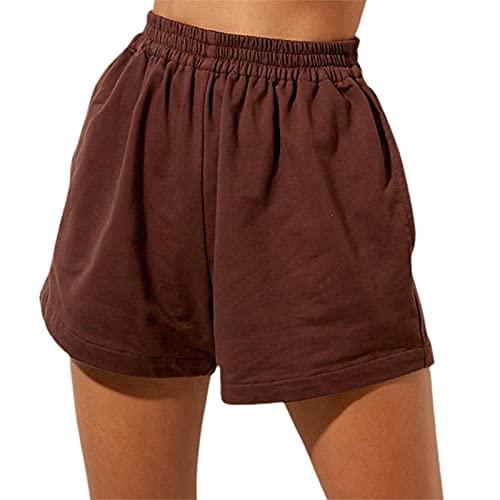 Pantalones cortos atléticos para mujer, de color sólido, elásticos, de cintura alta, de algodón, para yoga, gimnasio, correr, pantalones cortos con bolsillos