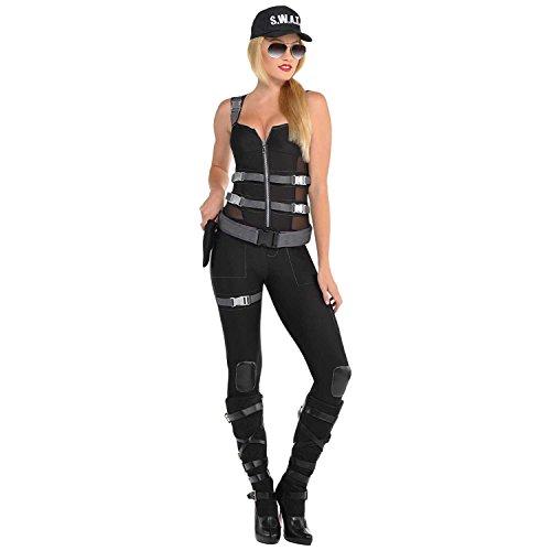 Yummy Bee Disfraz sexy de policía para mujer, disfraz de equipo de swat, disfraz de Halloween, talla grande 10 – 20 (14/16)