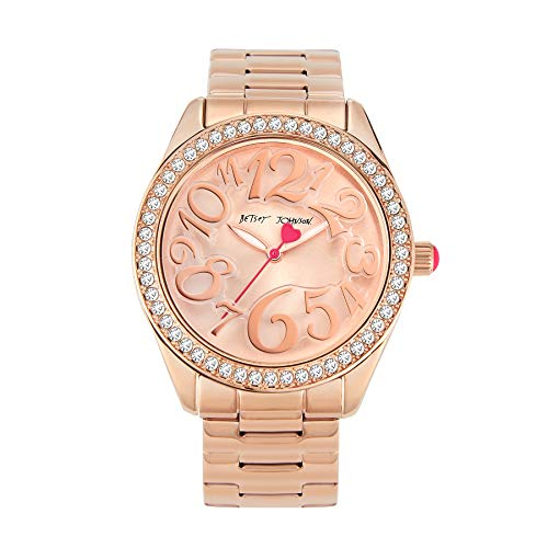 Betsey Johnson Women's Japanese Quartz Watch with Stainless Steel Strap, Rose Gold, 20 (Model: 276118RGD220)
