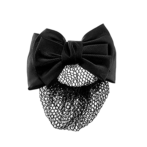 Snood Net Negro Bowknot Detalle French Clip Pein Barrette Bowknot Snood Net Barrette Pelo Clip Bun Funda para Mujer Mujer Sniew Net