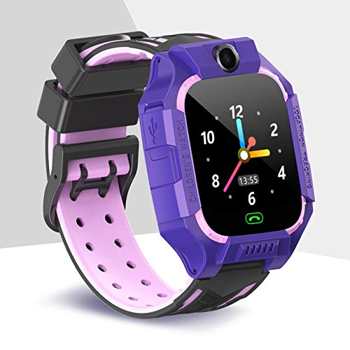 Kinderuhren für Jungen Kinder Uhren für Mädchen Sports Uhr Pedometeruhr High-Definition Touchscreen Multifunktionsuhr für Wettervorhersage, Fotografieren und Einfügen von Cartoons,Lila