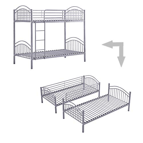 Ansley&HosHo Detachable Bunk Bed for Twin Pair of 3ft Single Beds Twin Beds Convertible Twin Sleeper Grey for Children's Room Modern Sleep Station for Boys Girls Bedroom Cabin Loft Hostel, Frame Only