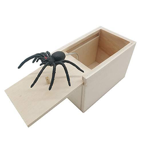 DE Spider Prank Scare Box,Wooden Surprise Box,Handmade Fun Practical Surprise Joke Boxes ,Gags & Practical Joke Toys Halloween