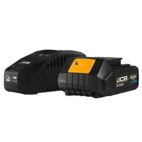 JCB Tools - JCB 20V Lithium-Ion 2.0Ah Battery With Charge Remaining Indicator And 2.4A Fast Charger - For JCB 20V Power Tools, Drills, Saws, Jigsaw, Angle Grinder, Miter Saw, LED Work Light, Recip Saw