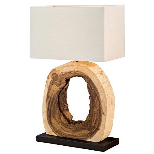 Design Tischleuchte CYCLE aus Teakholz E27 mit echtem Leinenschirm Tischlampe Holzfuß Stoffschirm Textilschirm Wohnzimmerlampe