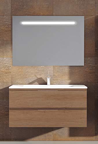 Juego de Mueble de Baño Modelo Toscana Porcelana, Conjunto formado por Mueble de Baño Estilo Madera Color Nebraska Ancho 80cm, Lavabo de Porcelana y Espejo a Juego