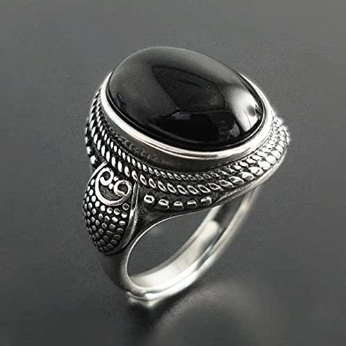 ZiFei Anillo Plata de Ley 925 Anillos de Piedra de Ónix Negro Natural para Mujer Estilo Vintage Plata Tailandesa Redimensionable Abierto