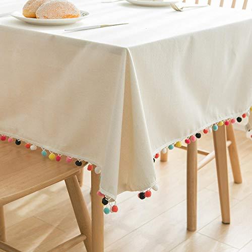 GUANGYING Tovaglia Tavolo da Cucina Tovaglia Rettangolare Tovaglia Color Cotone E Lino Bianco-Bianca_60X60 Cm