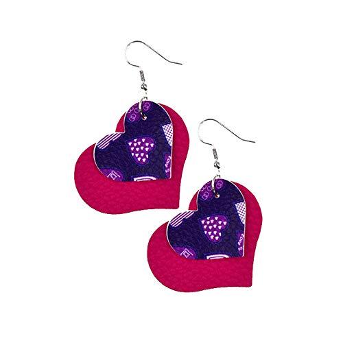 Hunpta Womens Heart Drop Leather Dangle Earrings Pendant Earrings Ear Hooks Valentine's Day Birthday Party Gift for Lover Girls