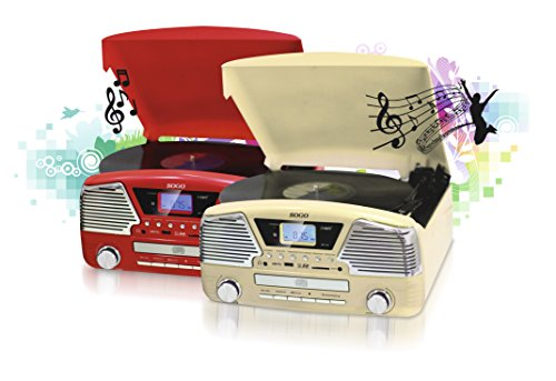 TOCADISCOS RETRO – CON CD/MP3 + RADIO + USB + SD – GRABACIÓN DIGITAL – CHASIS DE MADERA - BEIGE