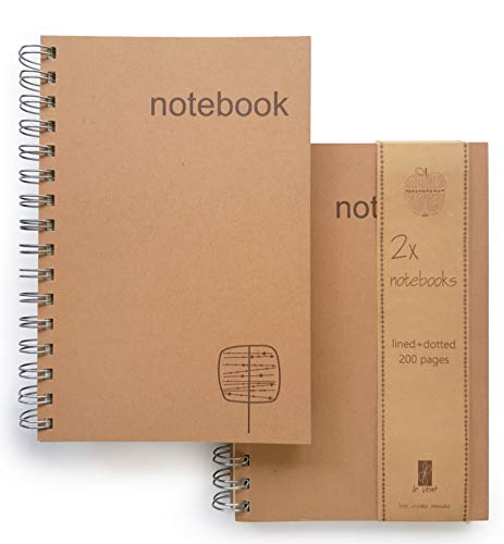 A5 Spiral Notebooks � Set of Dot and Lined Journal � 200 Wide Ruled Pages � 1 Subject - Spiral Bound Notebook 5x7 for Writing, Bullet Journal and Leather Journal Refill � by Le Vent