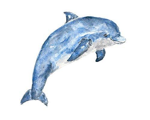 Amazon.com: Watercolor Animal Painting - Animal Art- Animal Painting - Dolphin  Print - Watercolor Blue Nursery Art: Handmade