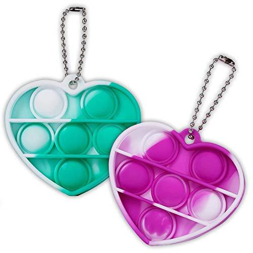ZNNCO Mini Push Pop Fidget Keychain Toy,Heart Shape Silicone Squeeze Anti-Anxiety Fidget Toys,Popping Fidget Novelty Gift for Kids Adult (Tie Dye Green+Purple)