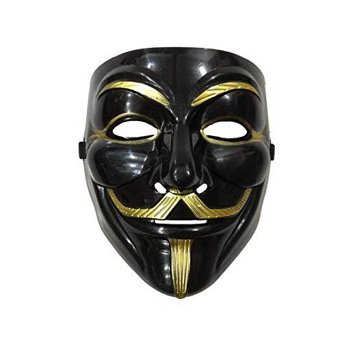 XKMY Máscara de Halloween en V negra para máscara Vendetta cosplay accesorio de disfraz de película anónima chico Fawkes Halloween Masquerade Party Terror máscaras (color : delineador de ojos)