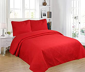 All American Collection 3pc Modern Contemporary Soft Comfy Bedroom Bedspread Quilt Set  Red Queen