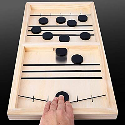 Fast Sling Puck Game, Wooden Sling Hockey Board Table Game for Kids and Adults Tabletop Sling Foosball Table Game with 10 Pucks and 2 Ropes, 14.6 x 9.3 in