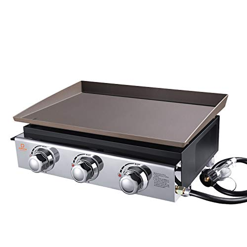 OT QOMOTOP 23 Inch Gas Griddle, Outdoor Flat Top Grill with 355 Square Inches Cooking Area, 3 Burners Camping Grill, Party Grill with Stainless Steel Front Plate and Front Grease Trap, Flat Top Grill
