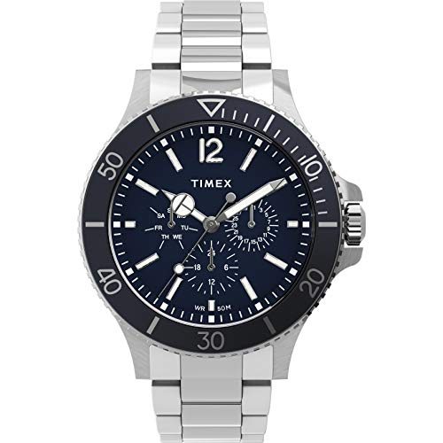 Timex Men's Harborside Multifunction 43mm Watch – Blue Dial with Silver-Tone Case & Stainless Steel Bracelet