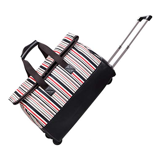 Adlereyire Trolley Bag 36-55 Liters,Lightweight and Waterproof Roller Bag Holdall with Wheels Functional Cabin Luggage Bag for Laptops up to 24' (Color : Stripe, Size : 24-inches)