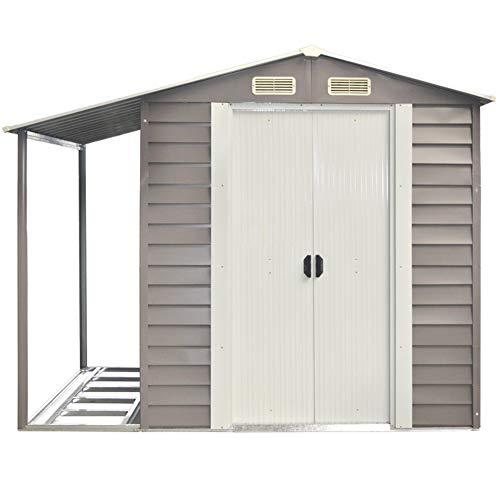 VERDELOOK Casetta box da giardino con tettoia laterale, 152x298x203 cm, grigio
