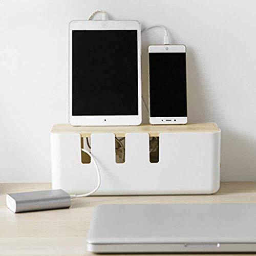 Kabelbox, Kabelmanagement Box, Kabelaufbewahrung Kabel Organizer Box Aus ABS Kunststoff mit Belüftung, Kabelmanagement-Box zum Kabel verstecken bei Kabelsalat (30,3 x 12,4 x 11,6cm)