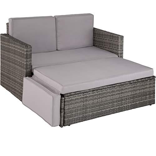 TecTake 800884 Poly Rattan Lounge Set, 2-Sitzer Sofa mit Rückenlehne, großer Hocker mit klappbarer Stütze, inkl. Dicke Auflagen, Gartenmöbel Set für Garten & Terrasse (Grau | Nr. 403884)