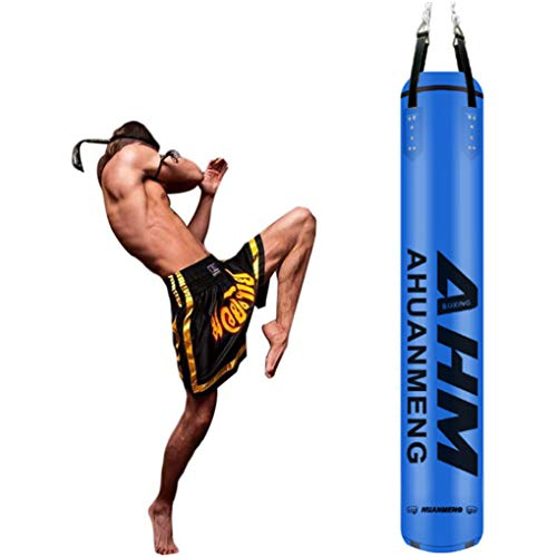 LWDDT Gefüllter Schwerer Boxsack, Hängender Hohler Box-Boxsack Aus PU-Mikrofaser-Leder Für MMA Muay Thai-Trainingsgeräte(Color:Blau,Size:180cm)