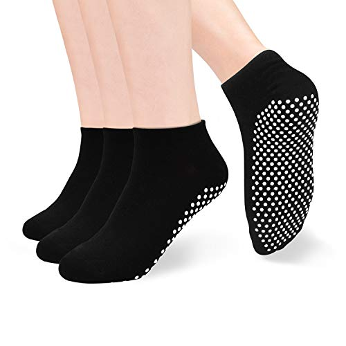 Yoga Socken Damen Anti-Rutsch-Socken - 3 Paare Rutschsocken für Damen Yoga Pilates, Ballett,Tanz,Barre,Fitness, Barfuß-Training, Trampolin Sox UK 4-10 / EU 35-46