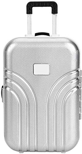 Chanhanv Toy suitcase baby suitcase toy cute plastic rolling suitcase mini luggage box for kids baby girl kids 6.1 * 4.1 * 2.8 inch-silver