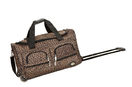 Rockland Rolling Duffel Bag, Brown Leopard, 22-Inch